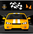 Yellow street racing car with sport checkered flag vector image