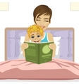 young mother reading tale story to her son vector image vector image