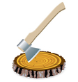 axe and a wooden cut vector image