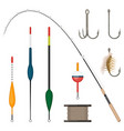 set of fishing tackles colorful icons isolated on vector image