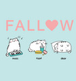 set of three kawaii cute fat white cats vector image