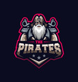 awesome pirates logo template vector image vector image