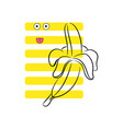 banana funny yellow striped tshirt design vector image vector image