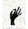 black witchs hand with light rays and symbols of vector image