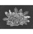 blackwork tattoo rose and feathers bouquet vector image