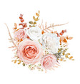 bright floral bouquet design blush peach roses vector image vector image