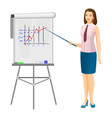 business women near flip chart with pointer promo vector image vector image