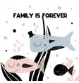 card with lettering family is forever and family vector image