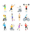 cartoon disabled sports characters icon set vector image vector image