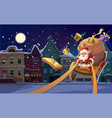 christmas card background with santa vector image