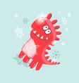 christmas card cheerful dinosaur vector image