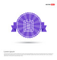 clipboard icon - purple ribbon banner vector image vector image