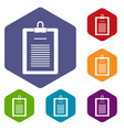 clipboard with checklist icons set hexagon vector image
