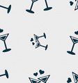 Cocktail in glass with hearts icon sign Seamless vector image