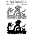 design set with scary leviathan and ship vector image vector image