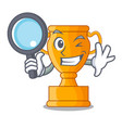 detective cartoon trophy cup with star on cyan vector image vector image