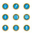 develop a picture icons set flat style vector image vector image