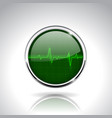electrocardiogram sign green round 3d icon with vector image vector image