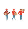 express delivery service concept male couriers in vector image vector image