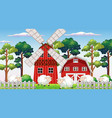 farm scene in nature with barn and windmill and vector image