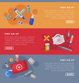 first aid kit medical equipment and medications vector image vector image