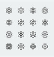 flowers icon set in thin line style vector image