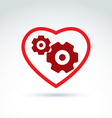 Gears and cogs in a shape of heart system theme vector image