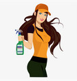 girl with a spray vector image vector image