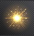 gold bokeh sunburst on transparent background vector image vector image