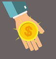 golden coin in hand profit concept vector image vector image