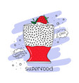 hand-drawn of superfood of a smoothie with chia vector image vector image
