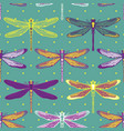 hand drawn stylized dragonflies seamless pattern vector image