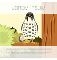 happy falcon on tree flat background vector image vector image