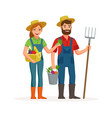 happy farmers flat design isolated on white vector image vector image