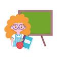 happy teachers day student girl book apple vector image vector image
