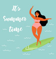 hawaiian girl in swimsuit is surfing in the ocean vector image