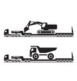 heavy duty tractor transports excavator and truck vector image