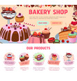 landing page for bakery shop desserts vector image vector image