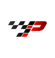 letter p with racing flag logo vector image vector image