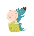 Little Kid Hugs Dog Best Happy Friends vector image vector image