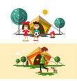 outdoors camping design with tent children fire vector image vector image