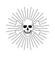 outline graphic human scull hand vector image
