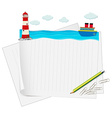 Paper design with ocean view vector image vector image