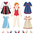 paper doll and set of clothes - dresses and shoes vector image vector image