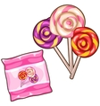 Pink bag with three colorful spiral lollipops vector image