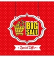poster big sale shop cart vintage red polka dot vector image
