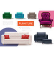 realistic furniture elements composition vector image vector image