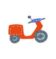 red retro motorbike side view cartoon vector image vector image