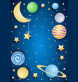 sky by night with moon planets and copy space vector image
