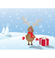snowy christmas landscape with deer and gift vector image vector image